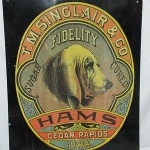 Other - T.M. Sinclair & Co Hams Cedar Rapids Iowa Dog Sign
